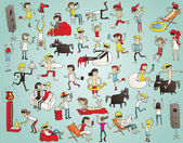Collection of young people having fun (isolated) dancing drinking etc Illustration is hand drawn elements are isolated and is in eps10 vector mode
