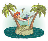 Global village cartoon with satisfied teenager on deserted island Illustration is in eps10 vector mode