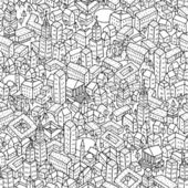 Città seamless pattern è texture ripetitive con case disegnati a mano. illustrazione è in modalità vettoriale eps8