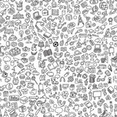 School seamless pattern in black and white (repeated) with mini doodle drawings (icons) Illustration is in eps8 vector mode