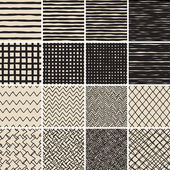 Basic Doodle Seamless Pattern Set No2 in black and white is collection of 16 simple repetitive patterns Illustration is in eps8 vector mode background on separate layer