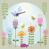 Illustration of cute googly eyed cartoon insects in the flower garden Vector file is layered EPS8 all elements are grouped