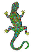 Ornate lizard with ethnic pattern Magic colored reptile In Art Nouveau style like stained glass Object is isolated on white Vector file is grouped EPS8 all elements are grouped