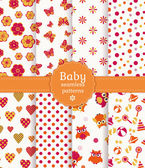 Collection of colorful baby seamless patterns in white orange and pink colors Vector illustration