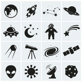 Collection of 16 space and astronomy icons Vector illustration