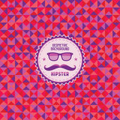 Hipster Geometric Background - Color Vector Pattern & Retro Badge with Glasses and a Mustache