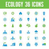 Ekologie vektorové ikony set - kreativní ilustrace na téma energetické