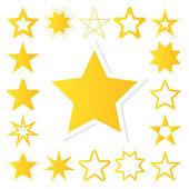 Yellow star vector icon set