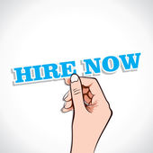 Hire Now in hand