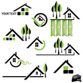 Set of houses icons for real estate business on white background