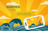Summer tropical concept background smartphone make picture of summer view Vector image