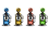 Set of four gas pumps in four different colors