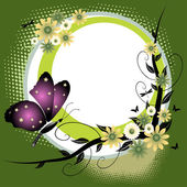 Abstract colorful rounded summer frame with various flowers and a beautiful purple butterfly