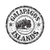 Black grunge rubber stamp with the name of the Galapagos Islands written inside the stamp
