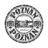 Black grunge rubber stamp with the name of Poznan city from Poland written inside the stamp