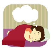 Mladá žena sní ve spánku
