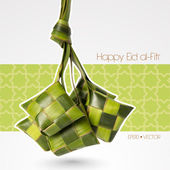 Vector Muslim Ketupat Rice Dumpling Translation: Happy Eid al-Fitr ( Feast of Breaking the Fast)