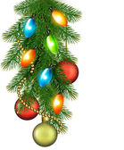 Christmas background with balls and fir branches Vector illustration