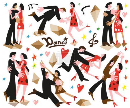 Постер, плакат: Dancing couples cartoons, холст на подрамнике