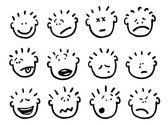 Vettore cartoon volti ed emozioni