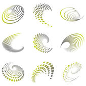 Set of nine abstract wave icons and geometric shapes in grey and green shades Can be used for party business technology sports motion promotion etc