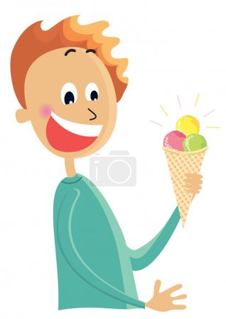 Постер, плакат: Boy eating an ice cream vector color cartoons isolated on white, холст на подрамнике