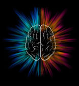 Vector brain and explosion on black background Elements are layered separately in vector file