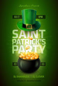 Vector St Patrick's Day poster design template Pot of Gold and green hat Elements are layered separately in vector file