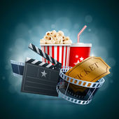 Popcorn box disposable cup for beverages with straw film strip ticket and clapper board Detailed vector illustration EPS10 file