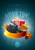 Popcorn box disposable cup for beverages with straw film strip ticket and clapper board Poster design template Detailed vector illustration EPS10 file