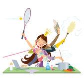 Madre occupata facendo contemporaneamente molti compiti cottura pulizia lettura lavorando e parlando al telefono