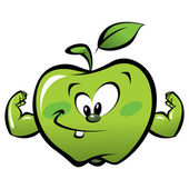 Happy cartoon strong and smiling green apple making a power gesture