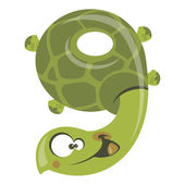 Number 9 funny cartoon smiling green turtle