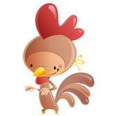 Cartoon vector illustration with cheerful smiling kid in funny brown and red chicken suit with mask and feathers