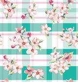 Seamless vintage flower pattern on check background