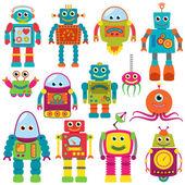 Vektorové kolekce barevných retro robotů