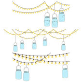 Vector Set of Hanging Glass Jar Lights and Bunting