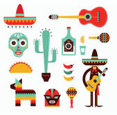 Vecor illustration of various stylized icons for Mexico