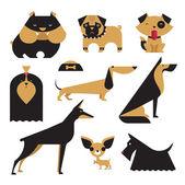 Illustrazione vettoriale carino di varie razze di cane