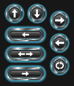 A set of 8 glowing blue arrow buttons on a dark background
