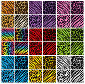 Collection of 36 different animal print backgrounds in various colors