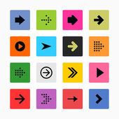 Arrow sign icon set Black on color Solid plain mono one-color flat tile Simple rounded square internet button Contemporary modern metro style