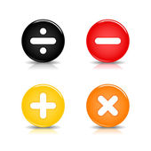 Colored web 20 button with math symbols Round shapes with reflection and shadow on white background 10 eps