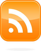 Orange goss with rss icon symbol concept on a white background with drop shadow