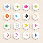 16 arrow sign icon set 01 (color on white) Hexagon button web internet shape with shadow on beige paper background with plastic texture Simple flat style Vector illustration design element 10 eps