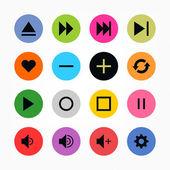16 media player control button ui icon set Black on color Set 06 Simple circle sticker internet sign Solid plain color flat tile Newest metro style Vector illustration web design elements 8 eps