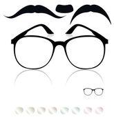 Classic glasses mustache Set of colored lenses