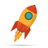 Cosmic rocket in flat design on white background