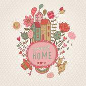 Sladký domů pozadí s cote psa a květiny. vektorové ilustrace