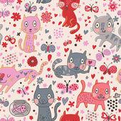 Srandovní kočky v květech. kreslené vektorové bezešvé vzor